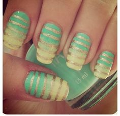 silver stripes and yellow/green ombre