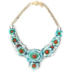Shourouk Apolonia Flower Necklace (790 CAD) ❤ liked on Polyvore featuring jewelry, necklaces, blue, flower chain necklace, blossom necklace, turquoise jewelry, turquoise chain necklace and swarovski crystal necklace