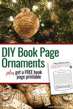 DIY Vintage Inspired Book Page Ornament · Crafty Julie Christmas Craft Projects, Christmas Deco, Christmas Bulbs, Diy Projects, Diy And Crafts, Crafts For Kids, Paper Crafts, Card Maker, Custom Canvas