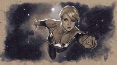 Captain marvel by: Adam Hughes