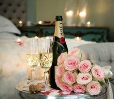 Champagne and flowers to make everything special.