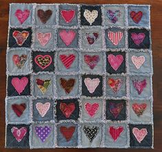 Denim Rag Heart Quilt 33x33 Recycled soft worn by HauteSelvage
