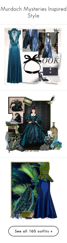 """Murdoch Mysteries Inspired Style"" by yours-styling-best-friend ❤ liked on Polyvore featuring Styli-Style, Prom, dreamydresses, Venini, Irregular Choice, Shameless, steampunk peacock, Andrew Gn, Judith Leiber and Oscar de la Renta"