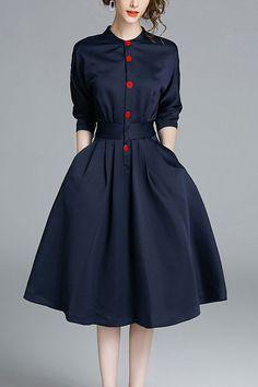 Dark Navy Buttons Flared Dress