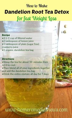 How to Make Dandelion Root Tea Detox Recipe for fast Weight Loss. Recipe •3.1/2 cup of filtered water •2 tablespoon of lemon juice •1 tablespoon of plain (sugar free) cranberry juice •1 organic dandelion tea bag Directions •Steep the tea for about 10 -12 minutes then allow it to cool. •Then blend all of your ingredients together and add the dandelion tea bag. •Drink the entire mixture all day for 7 days