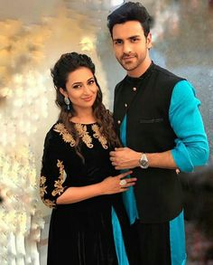 Black and Sky Blue Velvet and silk Kurta Jacket Set and Indo Western Inspired by Vivek Dahiya and Divyanka Tripathi . Having Zari and Stone Work Embroidery . This and Indo Suit is Reception, wear. Matching Couple Outfits, Matching Couples, Cute Couples, Wedding Wear, Wedding Bride, Wedding Dresses, Bollywood, Engagement Dresses, Engagement Ideas