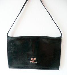 French Vintage Courrèges evening bag 1960 'S , in Black patent. 120.00, via Etsy.