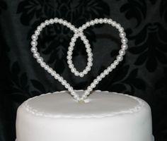 Pearl Heart Cake Topper - Wedding Birthday anniversary decoration | eBay