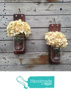 Tennessee Wicks Handcrafted Rustic Mason Jar Wall Sconce, Set of 2 from Tennessee Wicks https://smile.amazon.com/dp/B018WKUV0I/ref=hnd_sw_r_pi_dp_92.KxbS2R26ER #handmadeatamazon