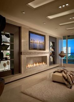Beautiful room with a linear fireplace. Contemporary Residence Boca Raton, Florida - contemporary - Living Room - Miami - Interiors by Steven G Fireplace Design, Fireplace Wall, Linear Fireplace, Granite Fireplace, Open Fireplace, Design Case, Wall Design, Divider Design, Design Room