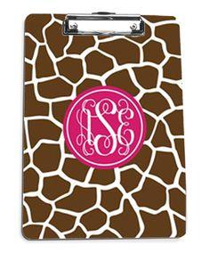 Giraffe Pattern Monogram Clipboard