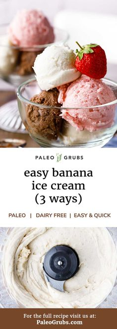 These dairy-free paleo banana ice cream recipes only have a couple of ingredients and are so yummy! Kids and husband loves it, and one of my favorite guilt-free paleo treats.