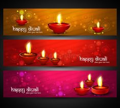 Illustration about Beautiful religious bright colorful happy diwali headers set. Illustration of hindu, india, artistic - 33696169 Happy Diwali 2017, Happy Diwali Images, Diwali Diya, Betty Boop Pictures, Diwali Decorations, Hindu India, Gift Wrapping, Bright, Candles