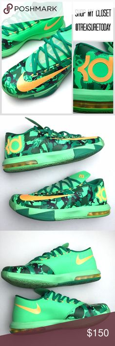 Nike KD 6 VI Green Atomic Mango Camo Sneakers Excellent condition, minimal to no signs of wear. No box. Size 8 men's, women's I believe 11 - they are basically EU size 41. Feel free to ask any question, I'm here to help! Offers welcome  Bundle 2 or more items and get %10 off instantly all pictures are taken by me. Nike Shoes Sneakers