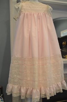 Pink and ecru dress by Gram's Heirlooms and Embroidery. Confirmation Dresses, Christening Dresses, Girls Dresses, Flower Girl Dresses, Baby Bonnets, Communion Dresses, Heirloom Sewing, Lace Embroidery, Easter Dress
