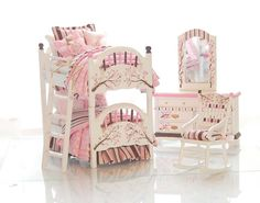 PINK & Brown Dollhouse Miniature BUNK BED Set - Cherry Blossoms