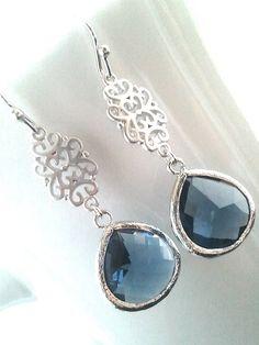 Oriental Montana Silver Drop Earrings, Dangle earrings, wedding Earrings -Sapphire Blue. $25.50, via Etsy.