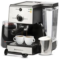7 Pc All-In-One Espresso Machine & Cappuccino Maker Barista Bundle Set w/Built-In Steamer & Frother (Inc: Coffee Bean Grinder, Portafilter, Milk Frothing Cup, Spoon/Tamper & 2 Cups), Stainless Steel - Kitchen Appliances