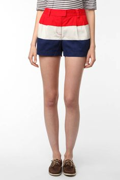 Pair these tri-colored shorts with a pair of boat shoes for a nautical spring look.     Urban Outfitters tricolor shorts, $54, get it at Urbanoutfitters.com.