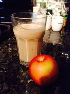 Apple Pie Smoothie: apple, cinnamon, nutmeg, banana, almonds, Greek yogurt.
