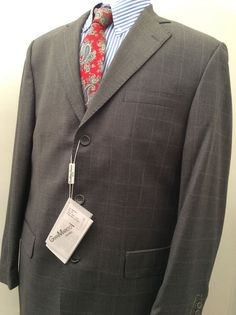 NWT GIAN MARCO VENTURI PINESTRIPE THREE BUTTON MEN'S WOOL SUIT SIZE 44 R 42 W #GianMarcoVenturi #ThreeButton