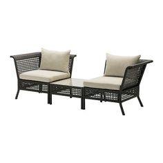 KUNGSHOLMEN / HÅLLÖ Hjørnelænestol med bord, ude  - IKEA