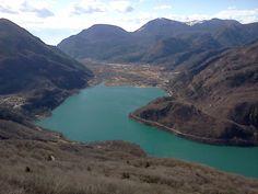 il Lago di Cavazzo, dal monte san Simeone in una bella domenica primaverile di febbraio - Cavazzo's lake - Friuli Venezia Giulia, Italy