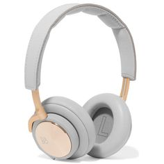 B&O Play H6 leather and gold-tone headphones ($465) ❤ liked on Polyvore featuring accessories, tech accessories, electronics, grey and cell phone headphones