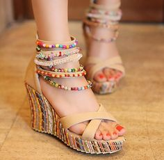 34.23$  Buy now - http://aliod3.shopchina.info/go.php?t=32806458649 - Women Wedge Heel Bohemian Sandals National Style Beaded Sandals New 2017 Cross Strappy Ladies Ethnic Boho Sandals 34.23$ #magazineonline