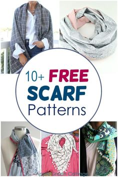 More than 10 free scarf sewing patterns for winter and fall scarf sewing projects: triangle scarf, infinity scarf, a cowl scarf, all diy scarves with instructions to make your own. Take a look at these different scarf styles and pick the one that works best for you. #diyscarf