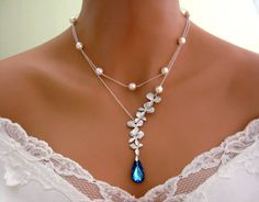 ❤ Wedding Necklace, Bridal Necklace, BERMUDA BLUE PEACOCK ORCHID Necklace, White Gold Orchid, White Pearl, double strand, blue necklace. ❤ Wow, what a