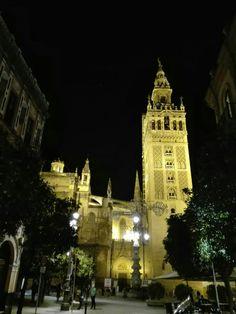 Plaza de la Virgen de los Reyes, catedral y Giralda desde la calle Mateos Gago. Sevilla