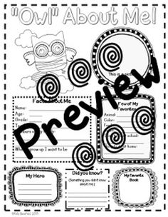 """""""Owl"""" About Me posters. Perfect for the beginning of the school year! $"""