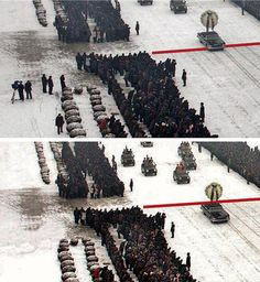 Photo altering by the Korean press agency - Funeral of Kim Jong-il