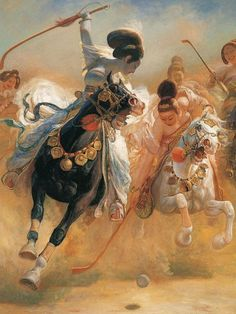 No sólo los hombres gustaban de los caballos. También las damas, que eran aficionadas, no sólo a montarlos de paseo, sino también para jugar un juego equivalente al actual polo. Al igual que el budismo, el polo lo trajeron los chinos de la India (Pintura de Wang Kewei, n. 1949).