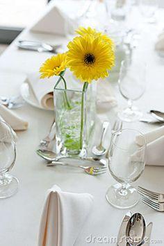 yellow gerber daisy wedding flowers | Gerbera Daisy Flowers On The Table Stock Image - Image: 19060851