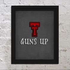 11x17 College Poster Print - Texas Tech University - Guns Up - Red Raiders - Wall Art Decor Artwork
