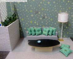 RESERVED custom order 1:6th Scale Mid Century Modern Atomic pillows quan. 8 ~ by MiniaturesfromAvalon