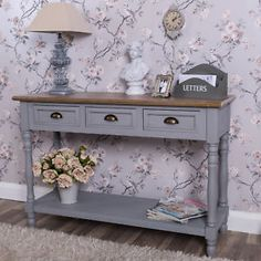 Grey Sideboard Console Table Server Traditional Furniture Vintage Hallway Home Large Console Table, Traditional Furniture, Sideboard, Vintage Furniture, Entryway Tables, Drawers, Cabinet, Storage, Consoles