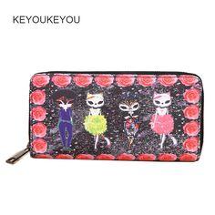 KEYOUKEYOU Fashion Rose Cat Wallets Animal Print Pu Leather Zip Around Women Wallet Organzier Card Holder Bag Ladies Money Purse #Affiliate