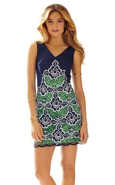 Lilly Pulitzer Sylvie V-Neck Shift Dress in True Navy Jungle Flowers Embroidery