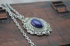 5$ antique silver Vitorian Lapis lazuli necklace Celtic symbols, Eternal love jewelry, Beaded Necklace