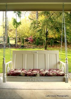 Upcycle old doors into a porch swing ~ quaint ~ by Huckleberry Lane,, couldn't get pic to link, but it's a great inspiration piece!