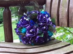 Peacock Bridal Bouquet / Teal and Purple Real Touch by mtfloral