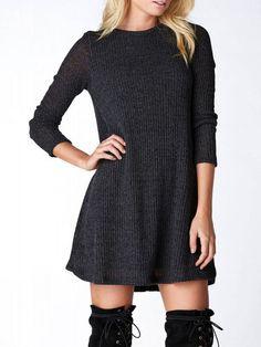 Dark Grey Crew Neck Casual Sweater Dress Mobile Site OMG I NEED