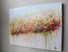 Abstrakte Blumen Malerei Malerei Auf Leinwand Rot Von Artbyoak1