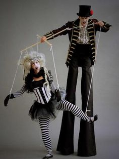 Our Spooky Puppeteer and Puppet is the perfect walkabout act to engage any audience at any event. Our stilt walker is available for hire for corporate functions, Halloween parties and much more in London & the UK. Circus Halloween Costumes, Halloween Themes, Halloween Party, Carnival Costumes, Scary Halloween, Arley Queen, Haunted Circus, Stilt Costume, Puppet Costume