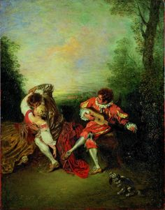 Jean-Antoine Watteau, La Surprise: A Couple Embracing While a Figure Dressed as mezzetin Tunes a Guitar, 1718-1719, Royal Academy of Arts