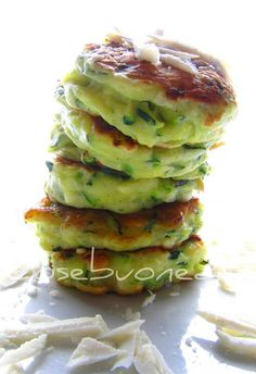 Zucchini Fritters with Ricotta Salata by cosebuonediale #Fritters #Zucchini #Ricotta_Salata