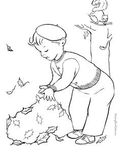 Free printable kid coloring page for Fall